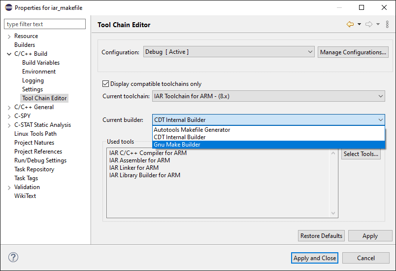 "Tool Chain Editor configuration panel from the Project Properties dialog. The pane contains a selection box to select the current toolchain and a second selection box to select the current builder. The ""GNU Make Builder"" selection is highlighted."