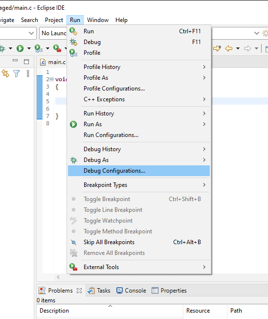 "Eclipse ""Run"" menu with the ""Debug Configurations..."" item highlighted."