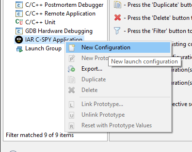 """New Configuration"" context menu item."