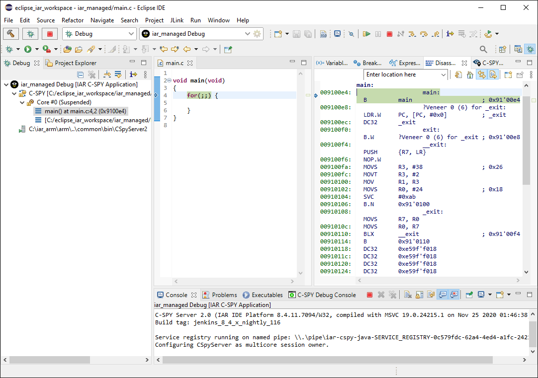 Eclipse IDE with active IAR C-SPY debug session and the debugger halted.